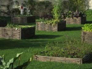 huerto con jardineras de ramas entrelazada.