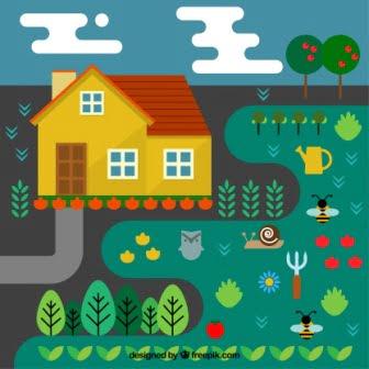 dibujo de casa y huerto