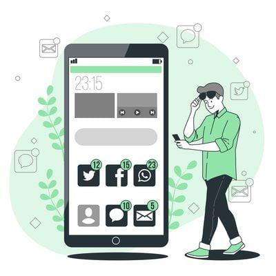 movil con imagenes de logos redes sociales